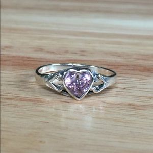 Jewelry - Pink Diamond Cz Claddagh Style Silver Heart Ring